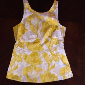 Banana republic yellow floral peplum top